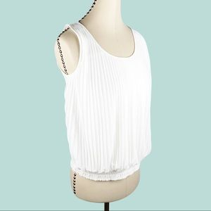 Ann Taylor LOFT White Accordion Pleated Front Top